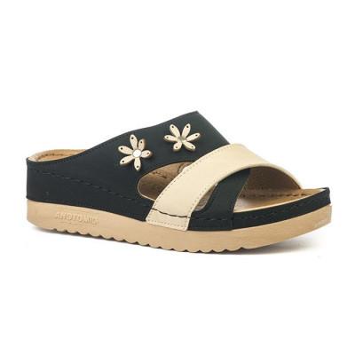 Anatomske papuče 4003-002 crno bež