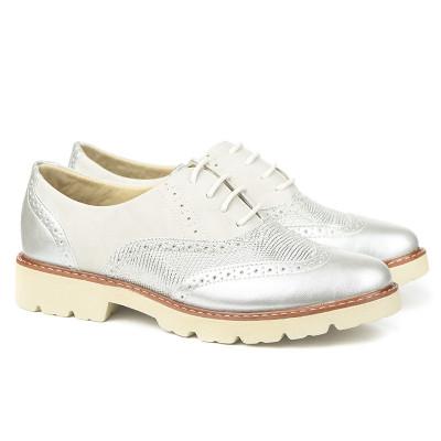 Cipele oksfordice C1801B belo srebrne