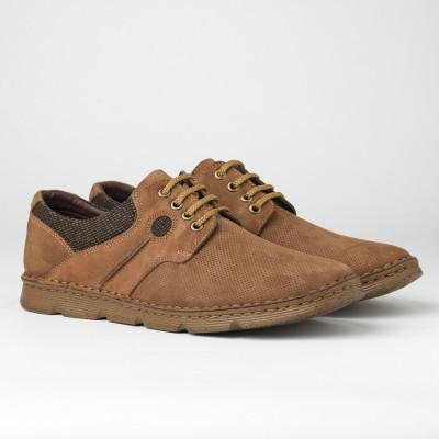 Kožne muške cipele na pertlanje 2827 kamel