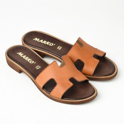 Kožne ravne papuče 221115 kamel