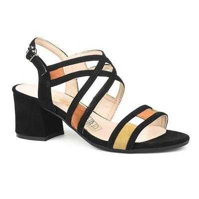 Kožne sandale na škilu 9-990 crno/bež