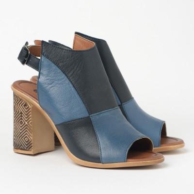 Kožne sandale na štiklu 11007 teget/plave