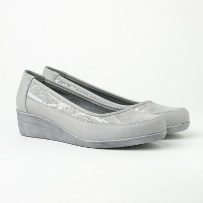 Kožne ženske cipele 17495/383 sive