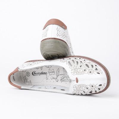 Kožne ženske cipele 2069 bele