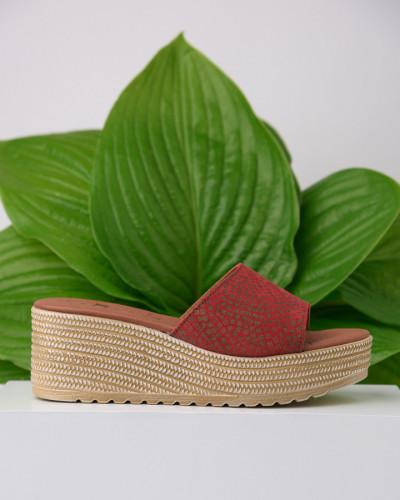 Kožne ženske papuče KT01 crvene-print