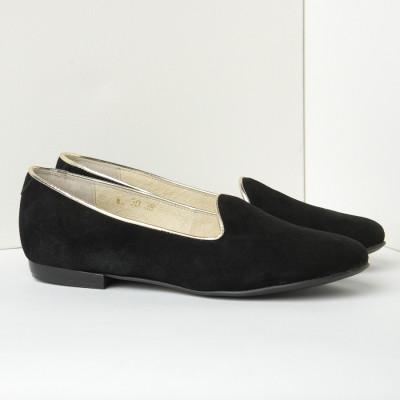 Kožne ženske ravne cipele B30 crne