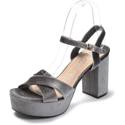 Plišane sandale na štiklu LS24714 sive
