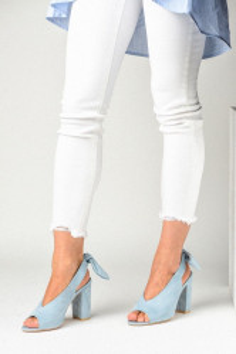 Sandale na štiklu LS391907 svetlo plave