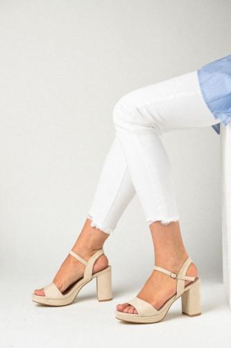 Sandale na štiklu LS771912 bež