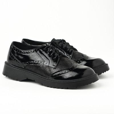 Ženske cipele na pertlanje L081926 crne