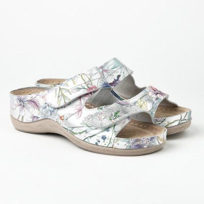 Kožne anatomske papuče 434 cvetni dezen