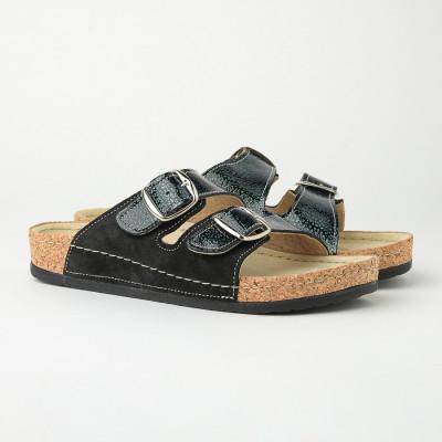 Kožne anatomske papuče 512 crne