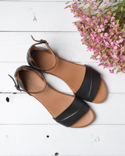 Kožne ravne sandale 2210 crne