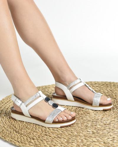 Kožne ravne sandale 229010 bele