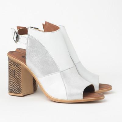 Kožne sandale na štiklu 11007 belo/srebrne