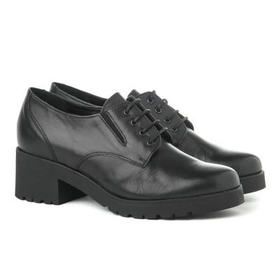 Kožne ženske cipele 655005 crne
