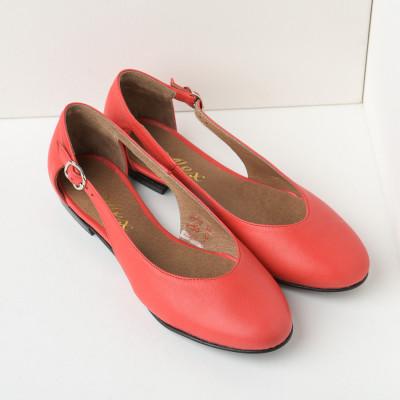 Kožne ženske cipele-baletanke B28/8 koralno crvene