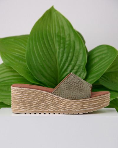 Kožne ženske papuče KT01 maslimaste-print