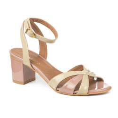 Lakovane sandale 15-858 bež/roze