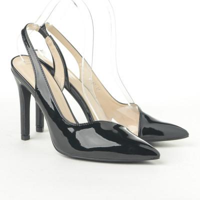 Lakovane sandale na štiklu CA67 crne
