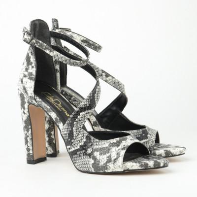 Sandale na štiklu FD7002 crno-bele print