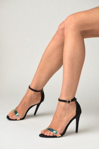 Sandale na štiklu S2503 crne