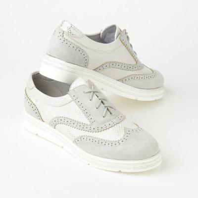 Ženske cipele na pertlanje L055202 sive