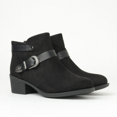 Ženske poluduboke čizme na malu petu E2019008 crne