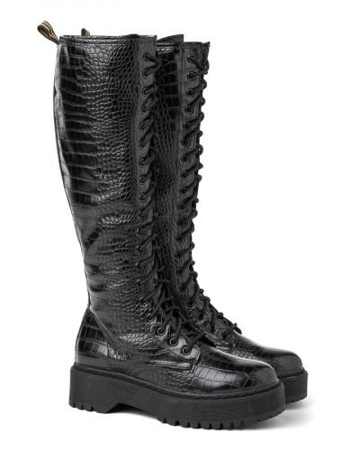Duboke ženske čizme XT2551 crne kroko