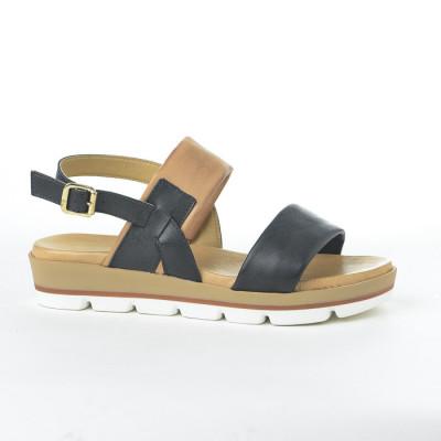 Kožne ravne sandale 234020 crne