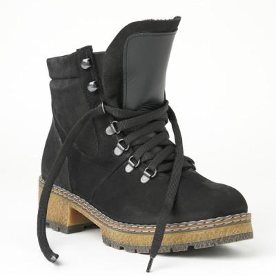 Kožne ženske kratke čizme 6403-011 crne