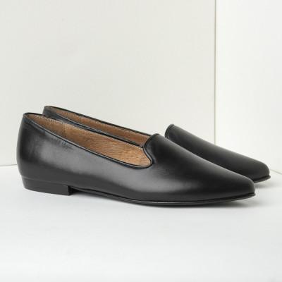 Kožne ženske ravne cipele B18 crne