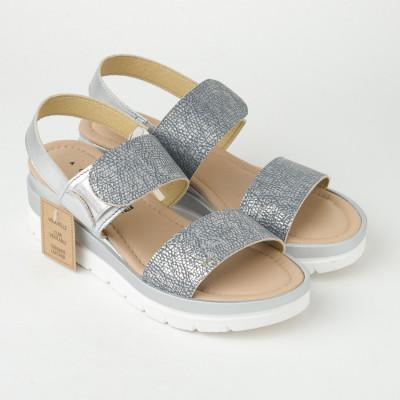 Kožne ženske sandale ZR05 sivo-srebrne