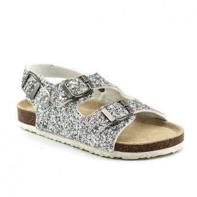 Ravne sandale CS90106 srebrne