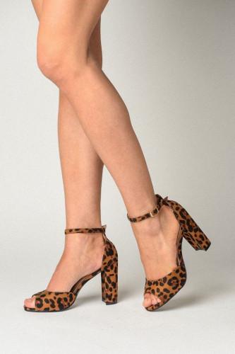 Sandale na debelu štiklu S2511 leopard