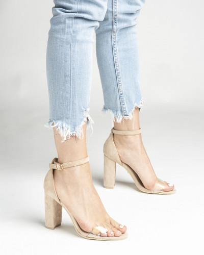 Sandale na štiklu LS242038 bež