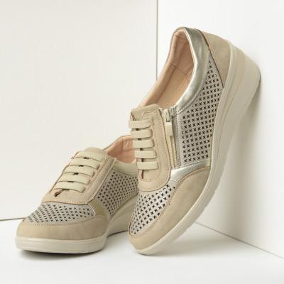 Ženske cipele/patike na ortoped petu L082101 bež-zlatne