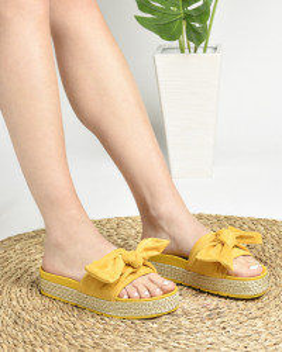 Ženske papuče na debelom đonu LP022019 žute