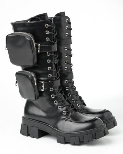 Ženske poluduboke čizme LH050401 crne