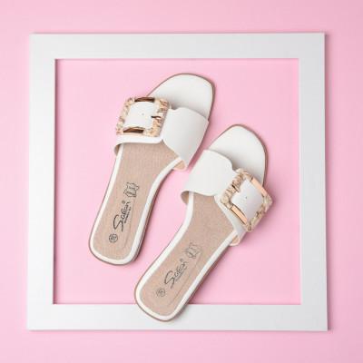 Ženske ravne papuče LP042105 bele