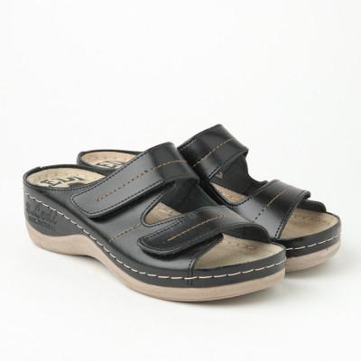 Kožne anatomske papuče 434 crne