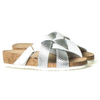 Kožne anatomske papuče 903 bele