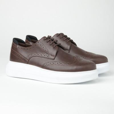 Kožne muške cipele sa debelim đonom 205103-1 braon