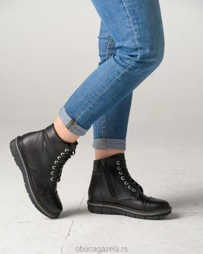Kožne poluduboke cipele ALB301 crne