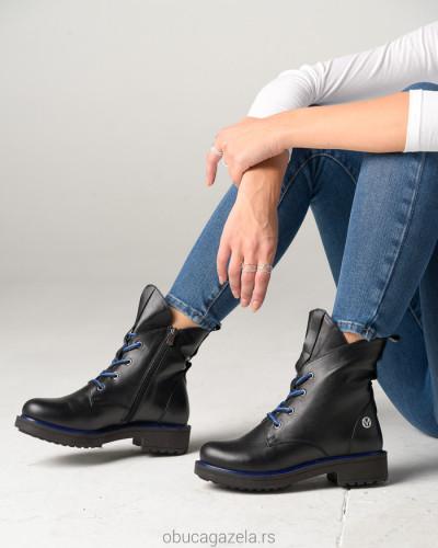 Kožne poluduboke čizme H4601/002-15 crna