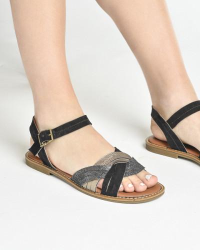Kožne ravne sandale E107 crne