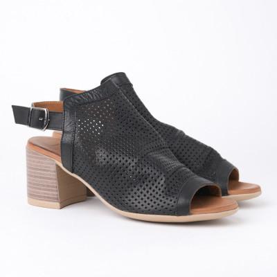 Kožne sandale na štiklu 1715 crne