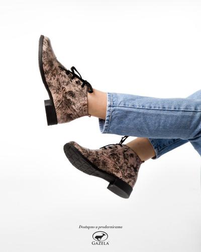 Kožne ženske cipele 2-901 puder/crne