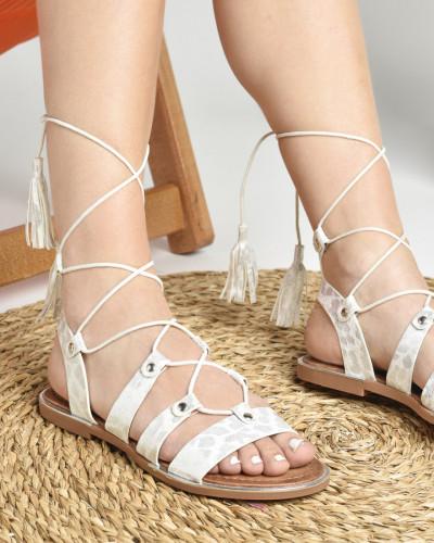 Ravne sandale LS022037 srebrne