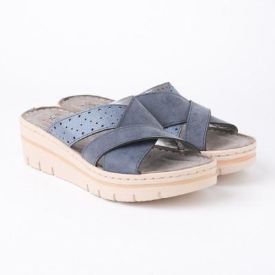 Ženske papuče na debelom đonu 216701 teget